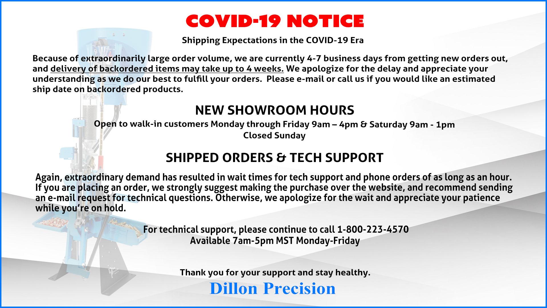 Dillon Precision Covid-19 Response